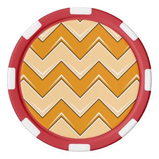 シェブロン8のオレンジ ポーカーチップ