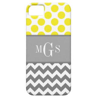 、シェブロン、水玉模様のiphone 5の場合黄色および灰色 iPhone SE/5/5s ケース