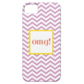 """シェブロン""""OMG!"""" 灰色の珊瑚および黄色 iPhone SE/5/5s ケース"""