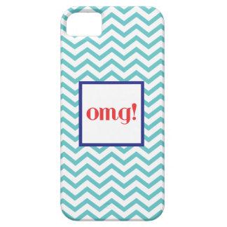 """シェブロン""""OMG!"""" 灰色の赤くおよび青 iPhone SE/5/5s ケース"""