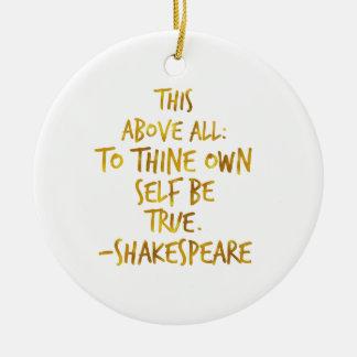 シェークスピアのやる気を起こさせるな引用文の金ゴールドののどホイル セラミックオーナメント