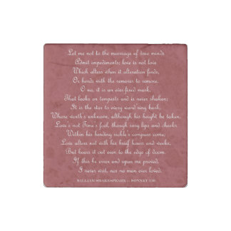 シェークスピアのソネット116の正方形の磁石 ストーンマグネット