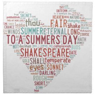 シェークスピアのソネット18 ナプキンクロス