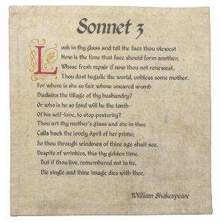 シェークスピアのソネット3の羊皮紙 ナプキンクロス