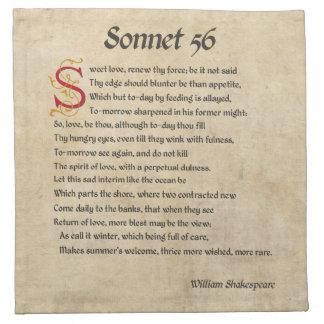 シェークスピアのソネット56の羊皮紙 ナプキンクロス