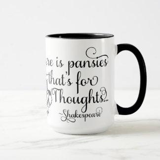 シェークスピアのマグ、思考、ハムレットのためのパンジー マグカップ