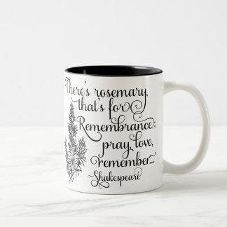 シェークスピアのマグ、記憶のためのローズマリー、ハムレット ツートーンマグカップ