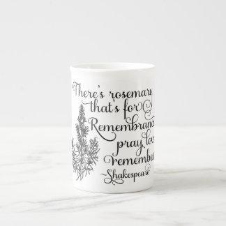 シェークスピアのマグ、記憶のためのローズマリー、ハムレット ボーンチャイナカップ