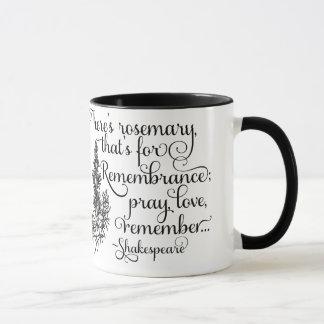 シェークスピアのマグ、記憶のためのローズマリー、ハムレット マグカップ