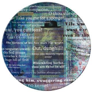 シェークスピアのユーモアのあるな侮辱の引用文 磁器プレート