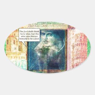 シェークスピアのユーモアのあるな知恵の引用文 楕円形シール