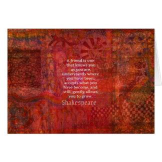 シェークスピアの友情の引用文 グリーティングカード