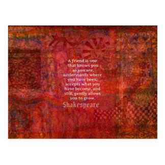シェークスピアの友情の引用文 ポストカード
