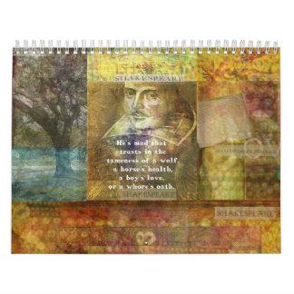 シェークスピアはカスタムによって印刷されるカレンダーを引用します カレンダー