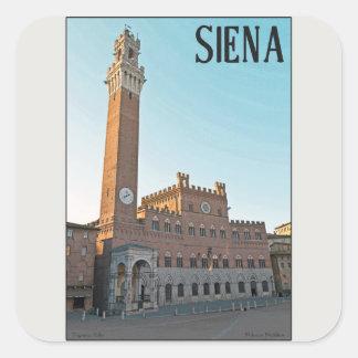 シエナ- Palazzo Pubblicoの朝 スクエアシール