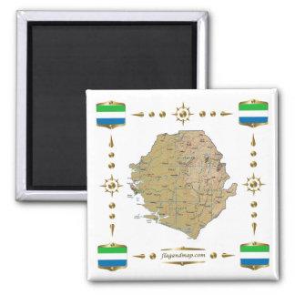 シエラレオネの地図 + 旗の磁石 マグネット