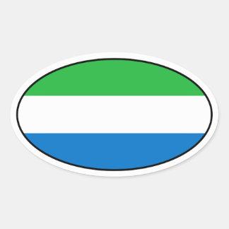 シエラレオネの旗の楕円形のステッカー 楕円形シール