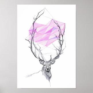 シカおよびポスターを引くピンクの幾何学的なハート ポスター