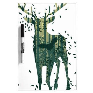 シカおよび抽象芸術の森林景色 ホワイトボード