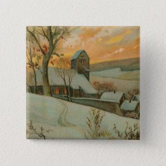 シカが付いているヴィンテージのクリスマスの農場 5.1CM 正方形バッジ