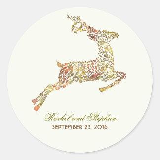 シカが付いている秋の結婚式のステッカー ラウンドシール