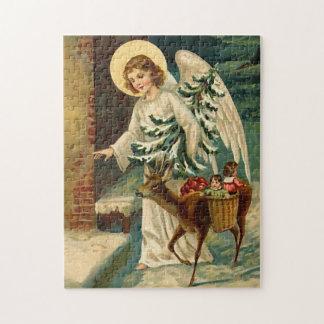 シカとのヴィンテージのクリスマスの天使 ジグソーパズル