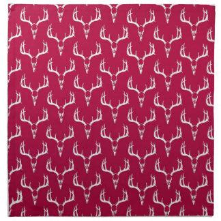 シカのスカルの深紅色パターン ナプキンクロス