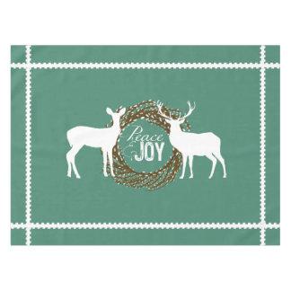 シカのティール(緑がかった色)の平和喜びのネコヤナギのリースのテーブルクロス テーブルクロス