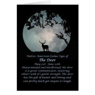 シカのネイティブアメリカンの(占星術の)十二宮図の印 カード