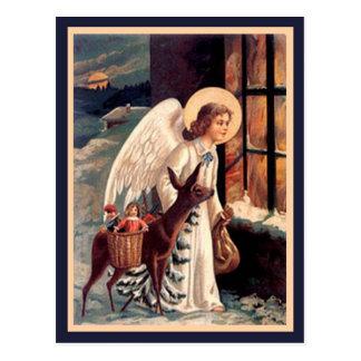 シカのヴィンテージの郵便はがきとのクリスマスの天使 ポストカード