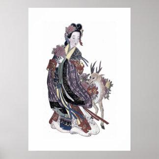 シカのヴィンテージポスターを持つ道教徒の妖精Moku hsien ポスター
