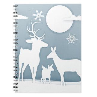 シカの冬場面紙の芸術 ノートブック
