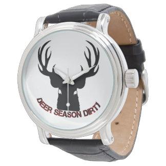 シカの季節の汚れた腕時計 腕時計