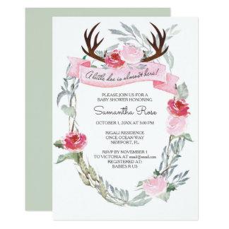 シカの枝角の女の子のベビーシャワーの招待 カード