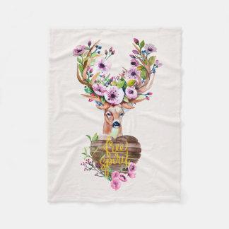 シカの自由な精神の水彩画のデザイン毛布 フリースブランケット