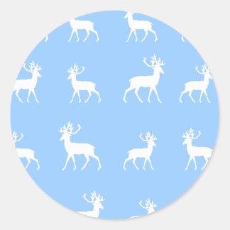 シカは青および白いで模造します ラウンドシール