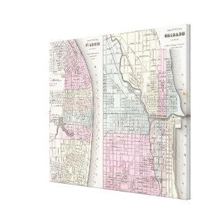 シカゴおよびセントルイス(1855年)のヴィンテージの地図 キャンバスプリント