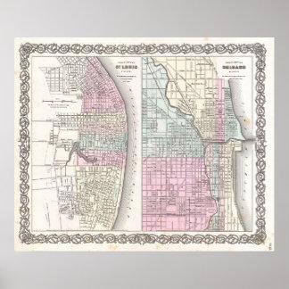 シカゴおよびセントルイス(1855年)のヴィンテージの地図 ポスター