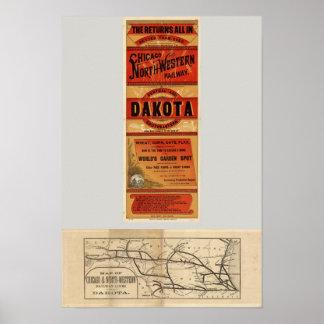 シカゴおよび北西鉄道の地図 ポスター