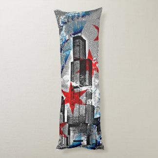 シカゴのスカイラインの旗のデザイン ボディピロー