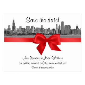 シカゴのスカイラインは日付BWの赤の保存をエッチングしました ポストカード