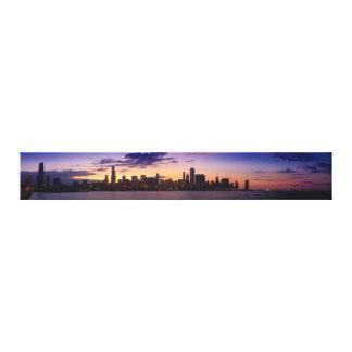 シカゴのスカイライン上の太陽セット キャンバスプリント