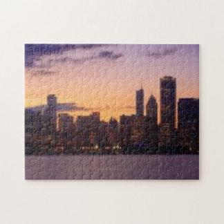 シカゴのスカイライン上の太陽セット ジグソーパズル