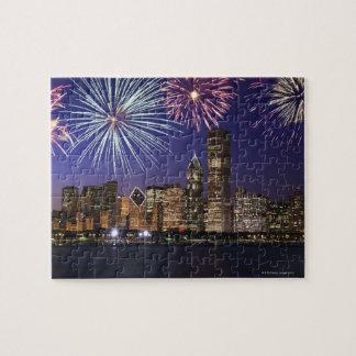 シカゴのスカイライン上の花火 ジグソーパズル