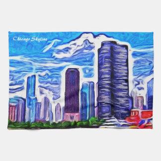 シカゴのスカイライン キッチンタオル