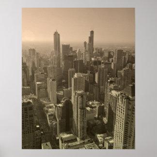 シカゴのスカイライン、ジョンハンコック中心のSkydeck ポスター