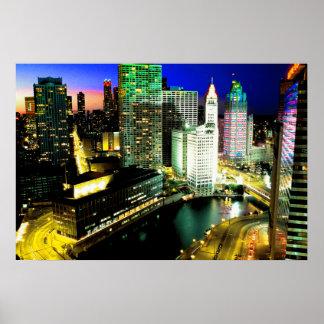 シカゴのスカイラインNightime ポスター