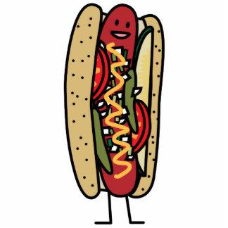 シカゴのスタイルのホットドッグの熱く赤いケシのパンのマスタード 写真彫刻キーホルダー