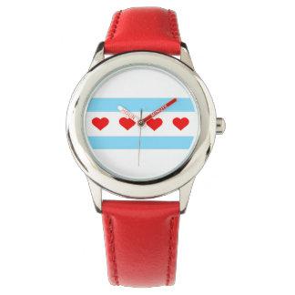 シカゴのハートの旗の腕時計 腕時計