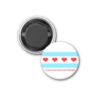 シカゴのハートの旗- I愛X 4つのキーの円形の磁石 マグネット